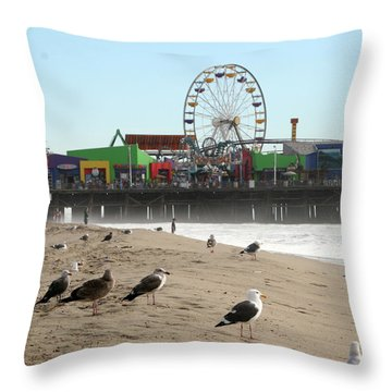 Seagulls And Ferris Wheel Throw Pillow