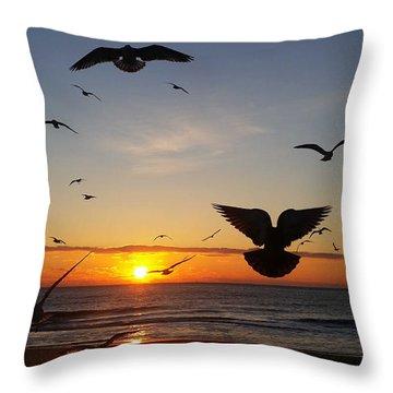 Seagulls At Sunrise Throw Pillow