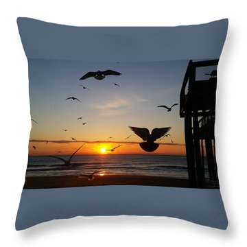 Seagulls At Sunrise Throw Pillow by Robert Banach