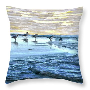 Seagulls At Waters Edge Throw Pillow