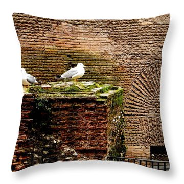 Seagulls By The Pantheon Throw Pillow by Melinda Dare Benfield