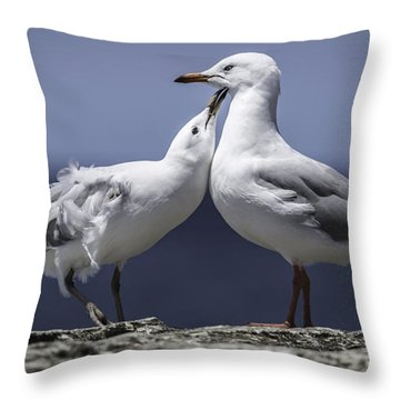 Throw Pillow featuring the photograph Seagulls by Chris Cousins