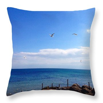 Seagulls Sea And Sky Throw Pillow