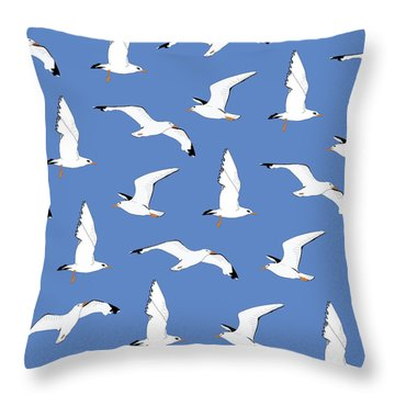 Seagulls Gathering At The Cricket Throw Pillow