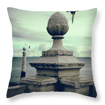 Throw Pillow featuring the photograph Seagulls In Columns Dock by Carlos Caetano