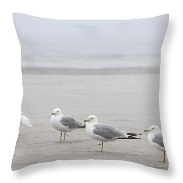 Seagulls On Foggy Beach Throw Pillow