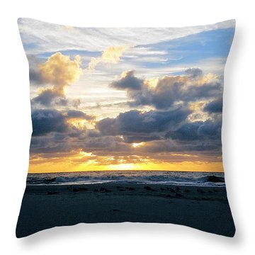 Seagulls On The Beach At Sunrise Throw Pillow