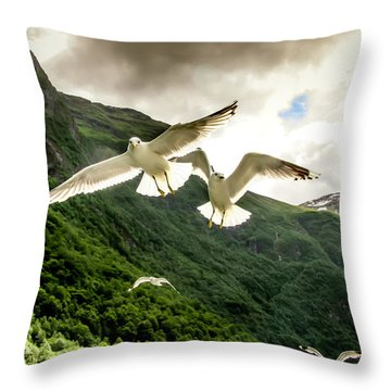 Throw Pillow featuring the photograph Seagulls Over The Fjord by KG Thienemann