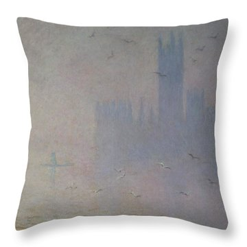 Seagulls Over The Houses Of Parliament Throw Pillow by Claude Monet