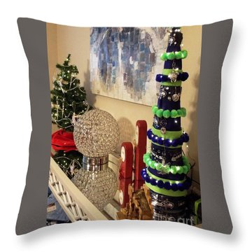 Seahawk Christmas Throw Pillow by Judyann Matthews