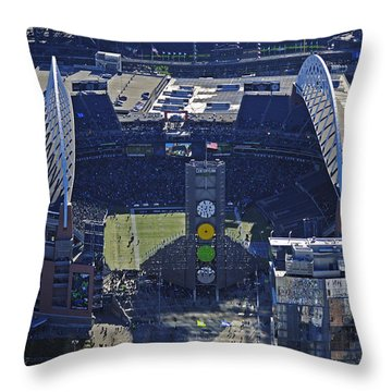 Seahawk Stadium Throw Pillow by Jack Moskovita