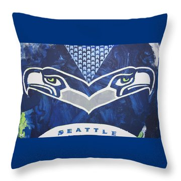 Throw Pillow featuring the painting Seahawks Helmet by Candace Shrope