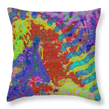Throw Pillow featuring the painting Seahorse Abstract by David Mckinney