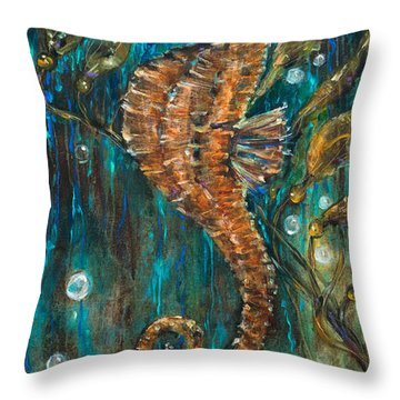 Seahorse And Kelp Throw Pillow by Linda Olsen