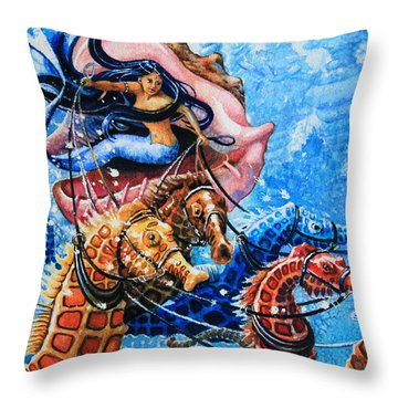 Seahorse Coach Throw Pillow by Hanne Lore Koehler