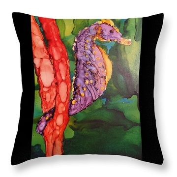 Seahorse Fantasy Throw Pillow by Judy Mercer