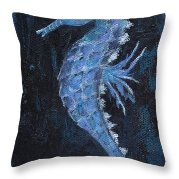 Throw Pillow featuring the painting Seahorse by Jamie Frier
