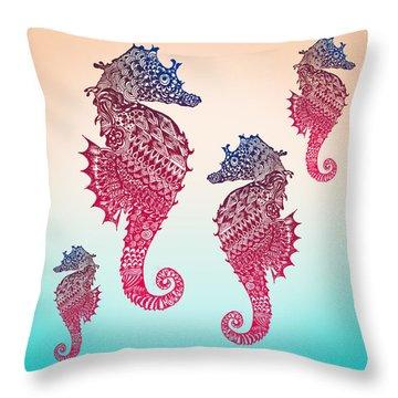 Whimsical Beach Art Throw Pillows