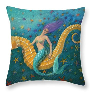 Seahorse Mermaid Throw Pillow