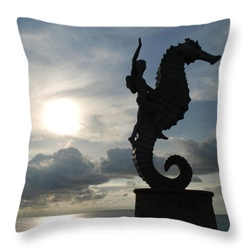 Seahorse Silhouette Throw Pillow