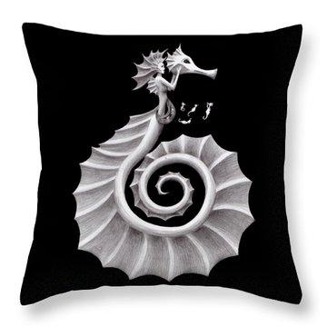 Seahorse Siren Throw Pillow by Sarah Krafft