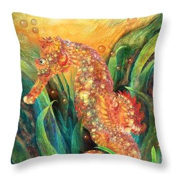 Seahorse - Spirit Of Contentment Throw Pillow by Carol Cavalaris
