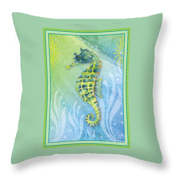 Seahorse Blue Green Throw Pillow by Amy Kirkpatrick