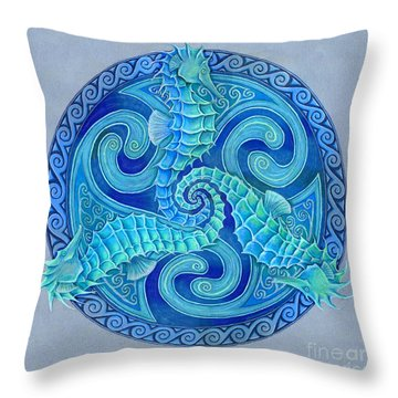 Seahorse Triskele Throw Pillow
