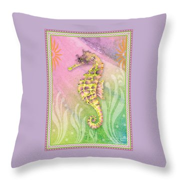 Seahorse Violet Throw Pillow by Amy Kirkpatrick