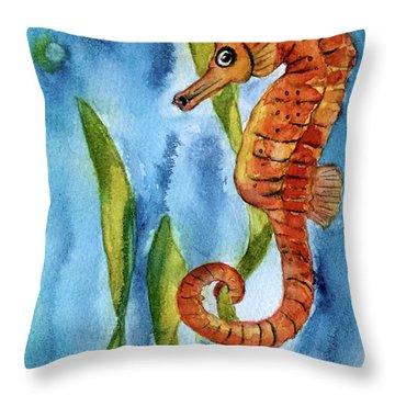 Seahorse With Sea Grass Throw Pillow