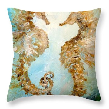 Seahorses In Love 2016 Throw Pillow