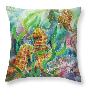 Seahorses Three Throw Pillow by Deborah Younglao