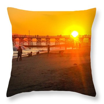 Seal Beach Pier Sunset Throw Pillow
