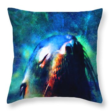 Throw Pillow featuring the digital art Seal Dance by Jean Moore