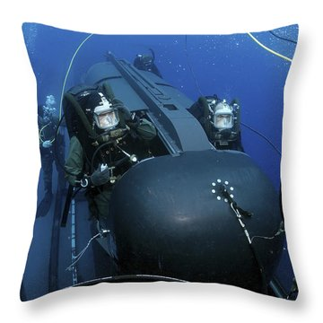 Seal Delivery Vehicle Team Members Throw Pillow by Stocktrek Images