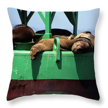 Seals On Channel Marker Throw Pillow