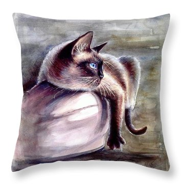Siamese Cat 2 Throw Pillow