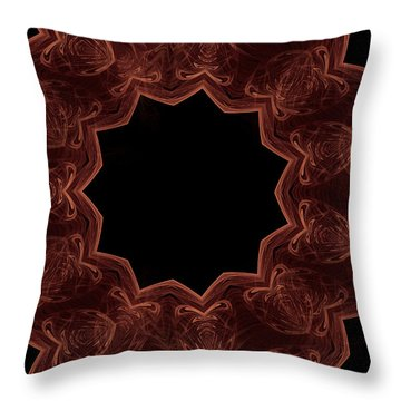 Seamless Kaleidoscope Copper Throw Pillow