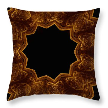 Seamless Kaleidoscope Gold Throw Pillow