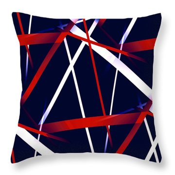 Seamless Red And White Stripes On A Blue Background Throw Pillow