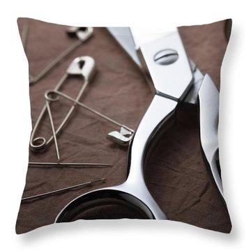 Seamstress Scissors Throw Pillow