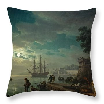 Seaport By Moonlight Throw Pillow