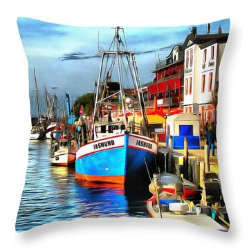 Seaport Warnemuende Throw Pillow