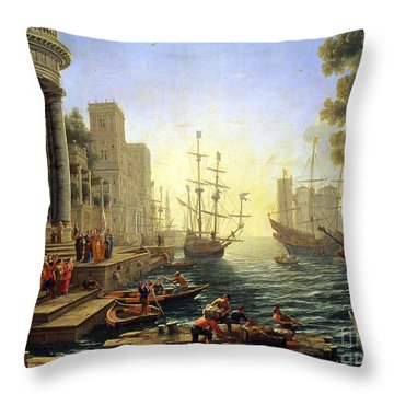 Seaport With The Embarkation Of Saint Ursula  Throw Pillow by Claude Lorrain