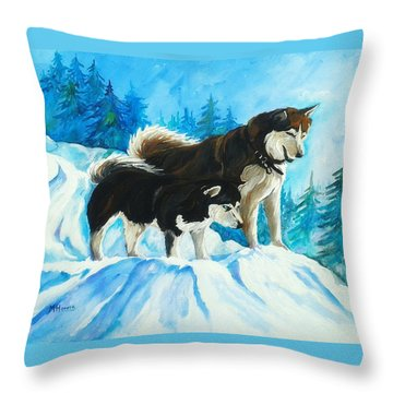 Searching Huskies Throw Pillow by Marla Hoover