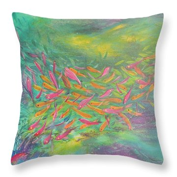 Throw Pillow featuring the painting Searching by Lyn Olsen
