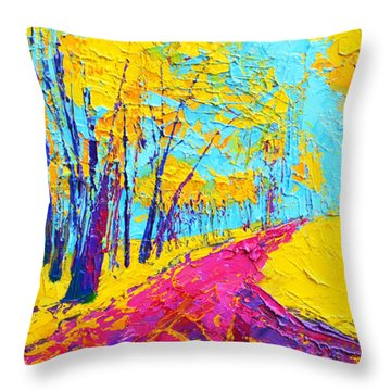 Throw Pillow featuring the painting Searching Within 2 Enchanted Forest Series - Modern Impressionist Landscape Painting Palette Knife by Patricia Awapara