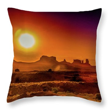 Searing Sunrise In Monument Valley Throw Pillow