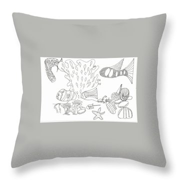 Seascape And Corals Throw Pillow