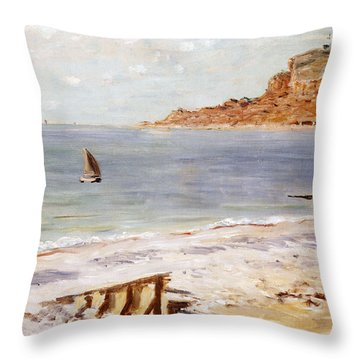 Seascape At Sainte Adresse  Throw Pillow